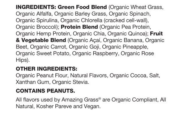 amazing grass protein superfood ingredients review